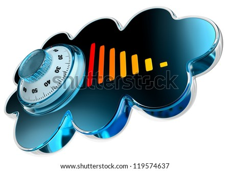 Cloud computing and storage internet security concept as is blue glossy cloud icon with combination lock on white background