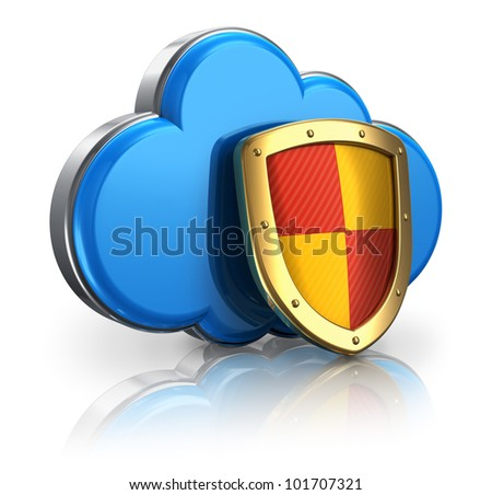 Cloud computing and storage security concept: blue glossy cloud icon covered by metal protection shield isolated on white background with reflection effect - stock photo
