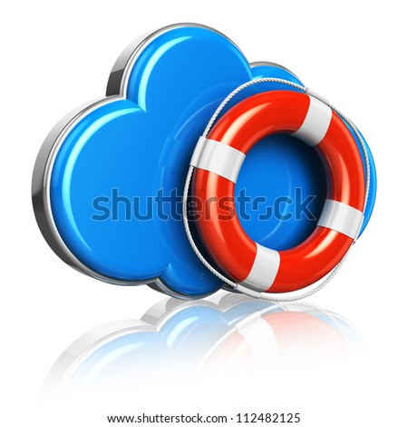 Cloud computing and storage security concept: blue glossy cloud icon with red lifesaver belt isolated on white background with reflection effect - stock photo