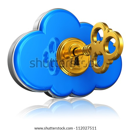 Cloud computing and storage security concept: blue glossy cloud icon with with golden key in keyhole isolated on white background with reflection effect - stock photo