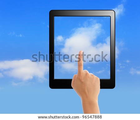 cloud computing and touch pad concept. hand holding black empty frame and touch the cloud - stock photo