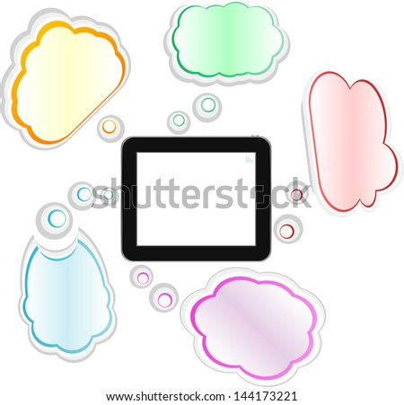 cloud computing and touch pad concept. tablet pc, raster - stock photo
