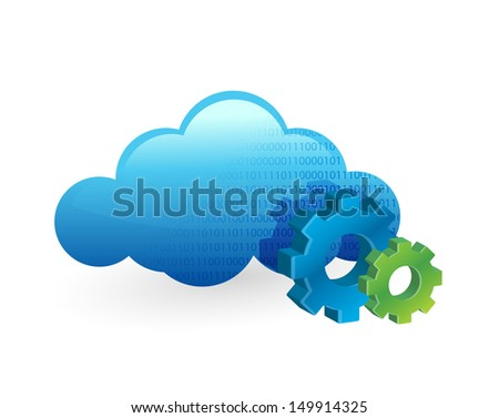 cloud computing and working gears. illustration design over white