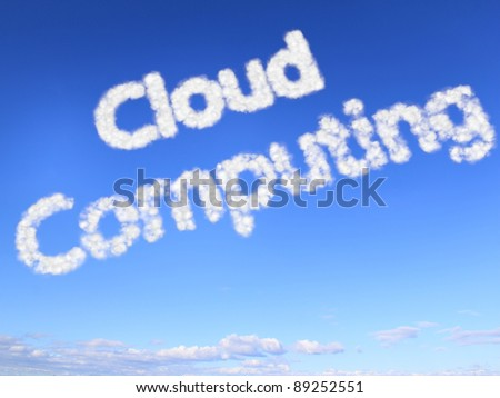 Cloud computing as clouds in the sky - stock photo