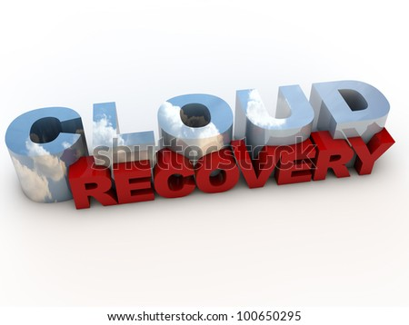 Cloud Computing as Recovery Service, over white Background - stock photo