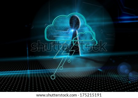 Cloud computing background against keyhole on technological background - stock photo