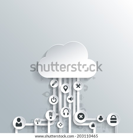 Cloud computing background with web icons. Social network. Mobile app. Infographic elements. - stock photo