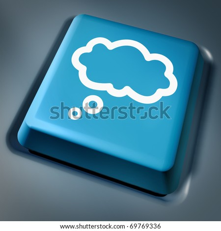 cloud computing brainstorming technology computer key laptop keyboard blue button virtual applications - stock photo