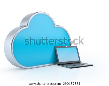 Cloud computing, Cloud laptop, Cloud Service Concept 3d render Isolated on white background