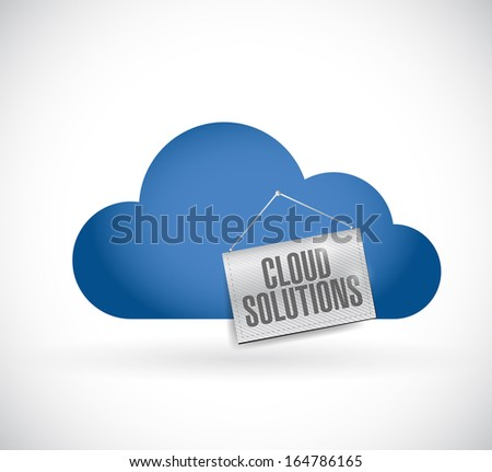 cloud computing, cloud solutions hanging banner illustration design over white - stock photo