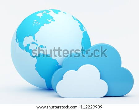 Cloud computing, clouds in front of blue globe - stock photo