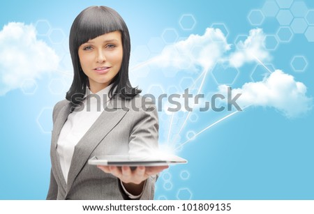 Cloud computing concept and business network. Businesswoman works with cloud computer - stock photo