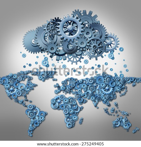 Cloud computing Concept and global internet technology symbol as world map made of machine gears and a group of cog wheels shaped as a remote virtual data server as a metaphor for mobile media. - stock photo