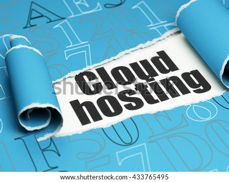 Cloud computing concept: black text Cloud Hosting under the curled piece of Blue torn paper with  Hexadecimal Code, 3D rendering