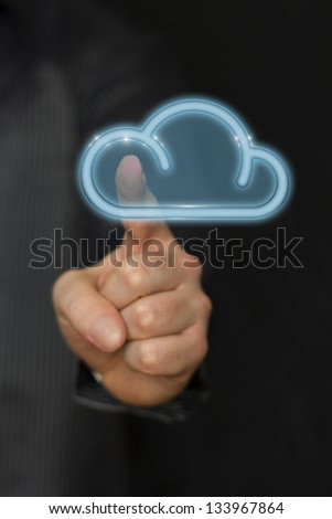 Cloud computing concept businessman touching the icon