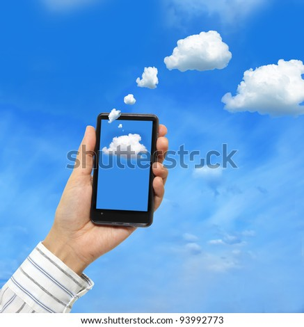 Cloud computing concept.Businessman works with cloud computer - stock photo