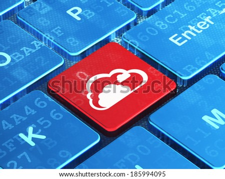 Cloud computing concept: computer keyboard with Cloud icon on enter button background, 3d render - stock photo