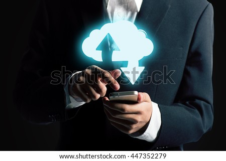 Cloud computing concept - connect to cloud. Business man with cloud computing icon,  - stock photo