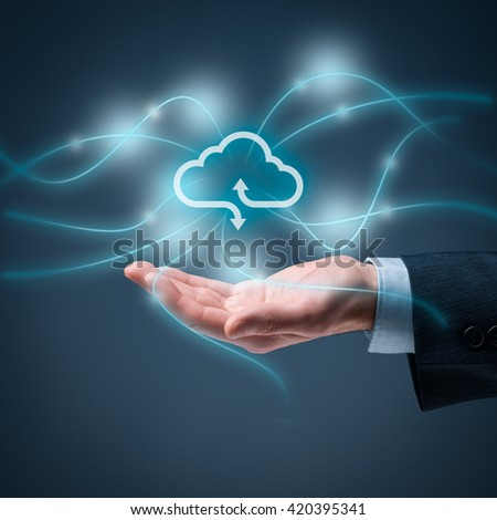 Cloud computing concept - connect to cloud. Hand with cloud computing icon, square composition.