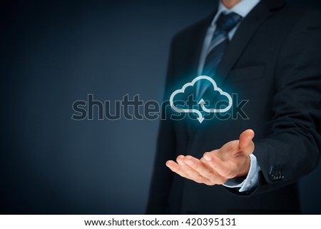 Cloud computing concept - connect your company to cloud. Hand with cloud computing icon.