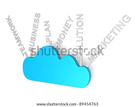 Cloud computing concept - 3d render ilustration - stock photo