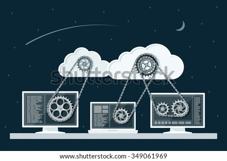 Cloud computing concept. Data storage network technology. PC and laptop connected to the clouds with gear transmission. Flat style illustration. - stock photo