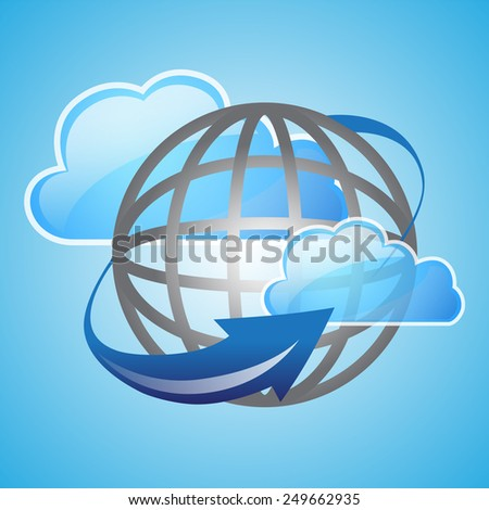 Cloud computing concept design, blue background - stock photo