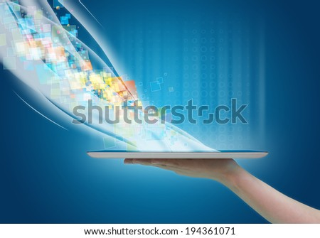Cloud computing concept design., Send and receive data, including the exchange of communication with the world. - stock photo