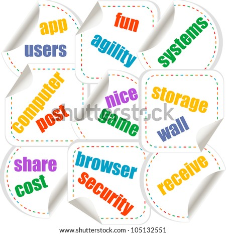 Cloud computing concept design - stickers set - raster - stock photo