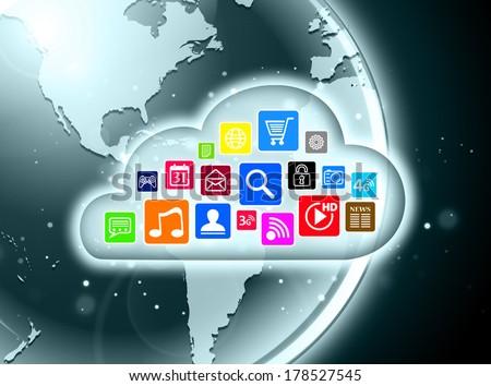 Cloud computing concept design suitable for business presentations, infographics, etc. - stock photo