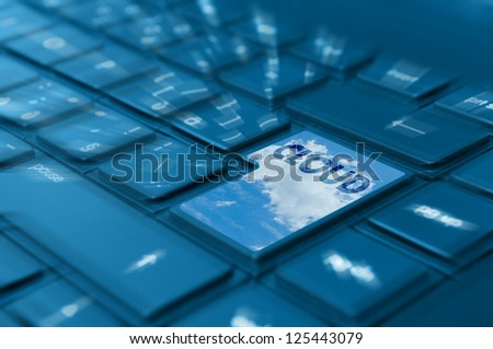 Cloud Computing Concept - Detail of Key With Symbol on Keyboard