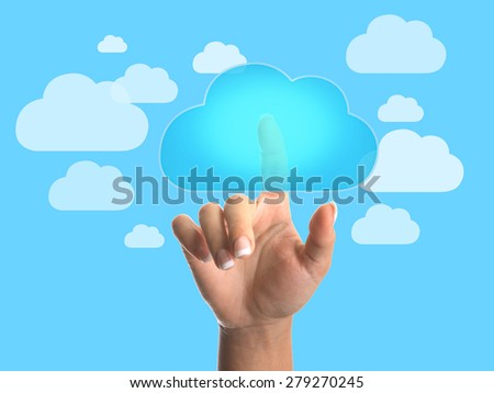 Cloud computing concept, finger touching the cloud - stock photo