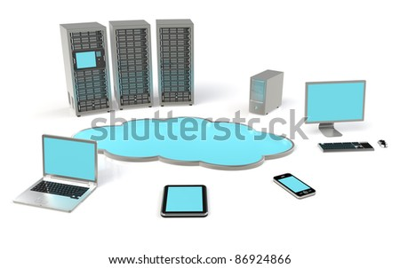 Cloud Computing Concept. Ground reflections. - stock photo