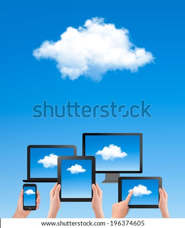 Cloud computing concept. Hand with blue sky and white cloud. Raster version. - stock photo