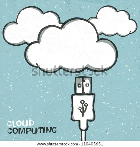 Cloud computing concept illustration, usb cabel and clouds icons. Raster version, vector file available in portfolio. - stock photo