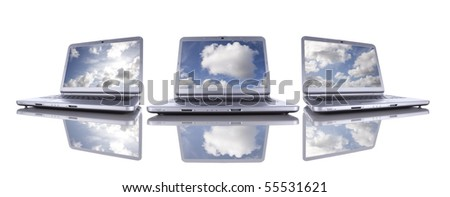 Cloud computing concept in three modern laptop isolated on white - stock photo