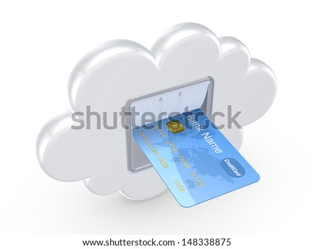 Cloud computing concept.Isolated on white.3d rendered. - stock photo