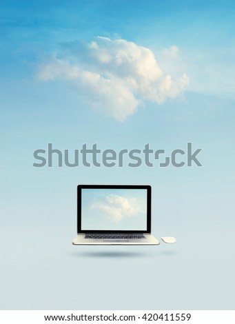 Cloud computing concept, Laptop floating with cloud on screen and cloud on blue sky background - stock photo