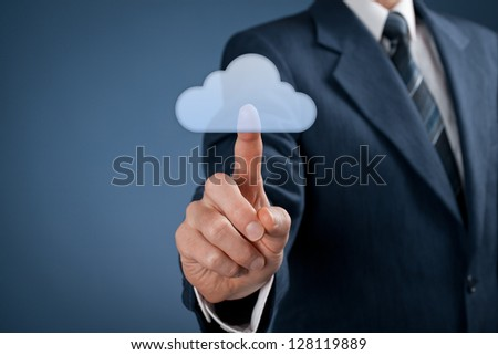 Cloud computing concept. Man click on cloud icon ahead. Selective focused on finger.