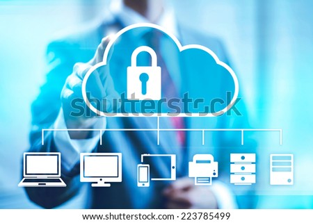 Cloud computing concept man selecting virtual interface - stock photo