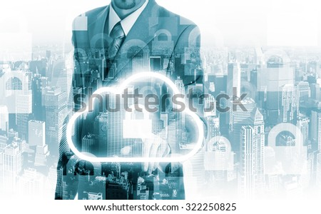 Cloud computing concept man selecting virtual interface. - stock photo