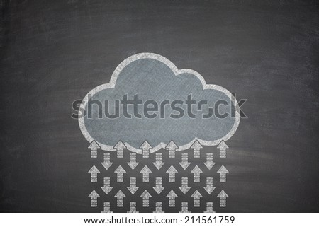 Cloud computing concept on black Blackboard with arrows - stock photo