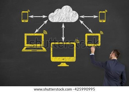 Cloud Computing Concept on Chalkboard Background - stock photo