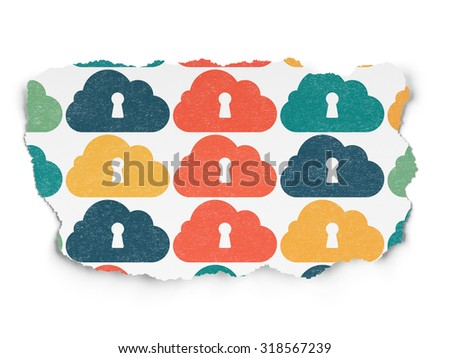Cloud computing concept: Painted multicolor Cloud With Keyhole icons on Torn Paper background