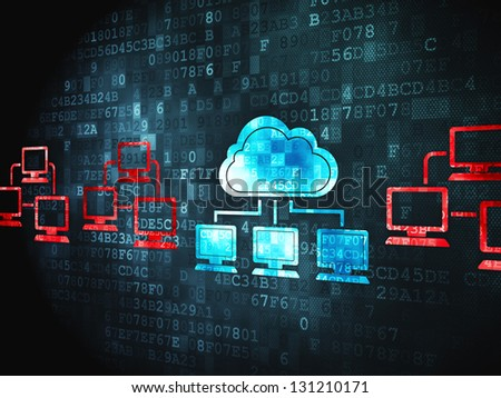 Cloud computing concept: pixelated Cloud Technology icon on digital background, 3d render - stock photo