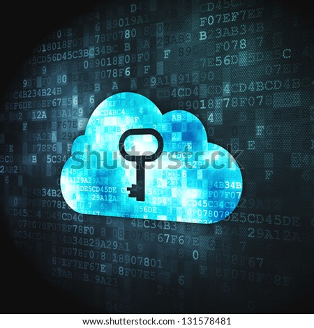 Cloud computing concept: pixelated Cloud Whis Key icon on digital background, 3d render - stock photo