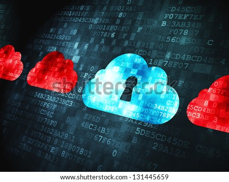 Cloud computing concept: pixelated Cloud Whis Keyhole icon on digital background, 3d render