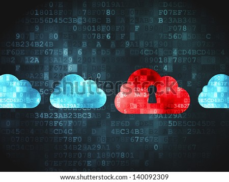 Cloud computing concept: pixelated Cloud Whis Keyhole icon on digital background, 3d render - stock photo
