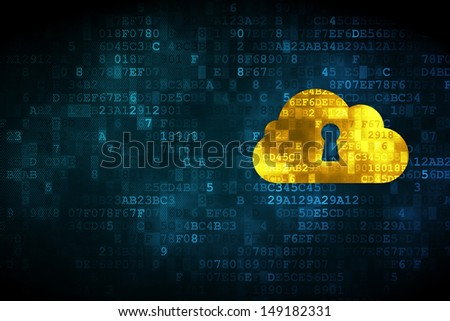 Cloud computing concept: pixelated Cloud With Keyhole icon on digital background, empty copyspace for card, text, advertising, 3d render