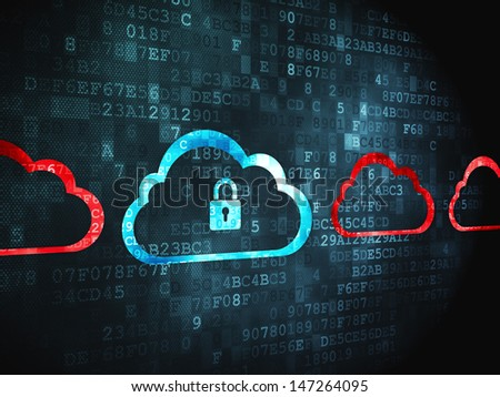 Cloud computing concept: pixelated Cloud With Padlock icon on digital background, 3d render